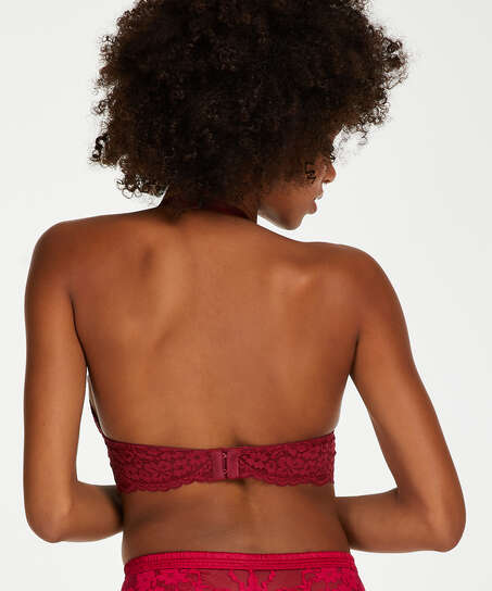 Rose Padded Halter Bralette, Red
