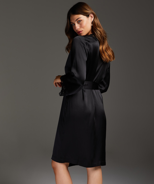 Silk lace trim kimono, Black, main