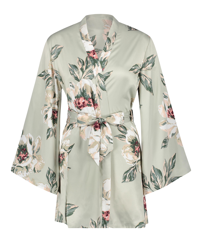 Satin Print Kimono, Blue, main