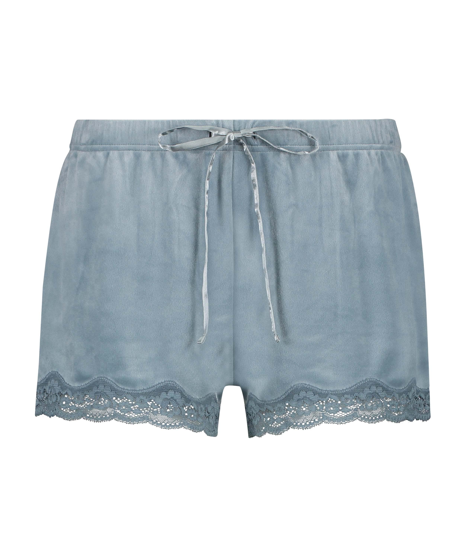 Velvet lace shorts, Blue, main