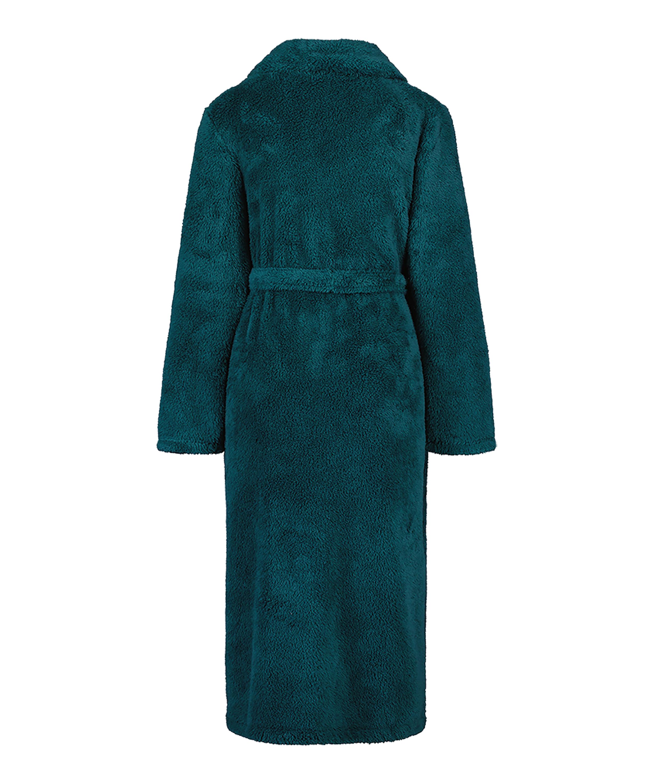 Long Fleece Bathrobe, Blue, main