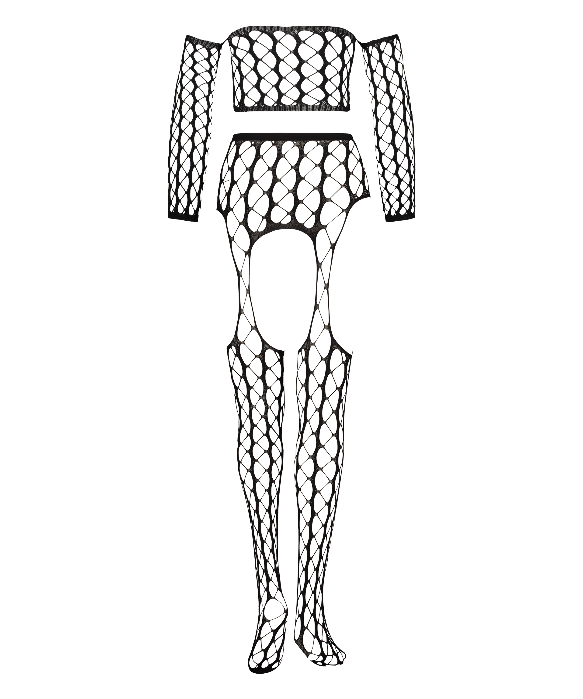 Graphic Private Fishnet Set, Black, main