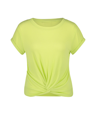 Rib Knot pyjama top short sleeves, Yellow