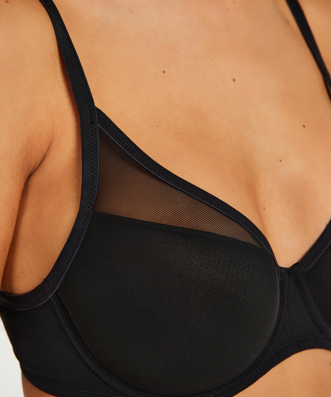 Mesh Padded underwired bra, Black, main