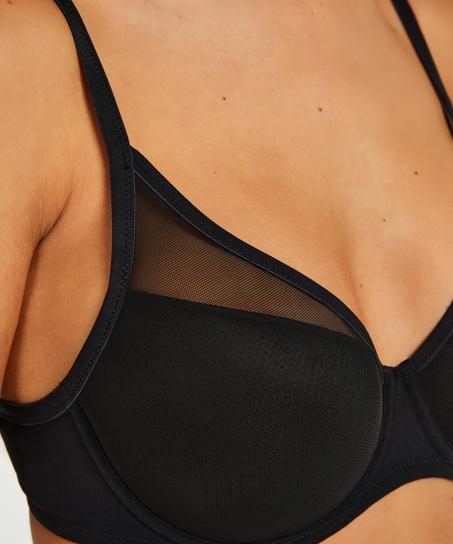 Mesh Padded underwired bra, Black
