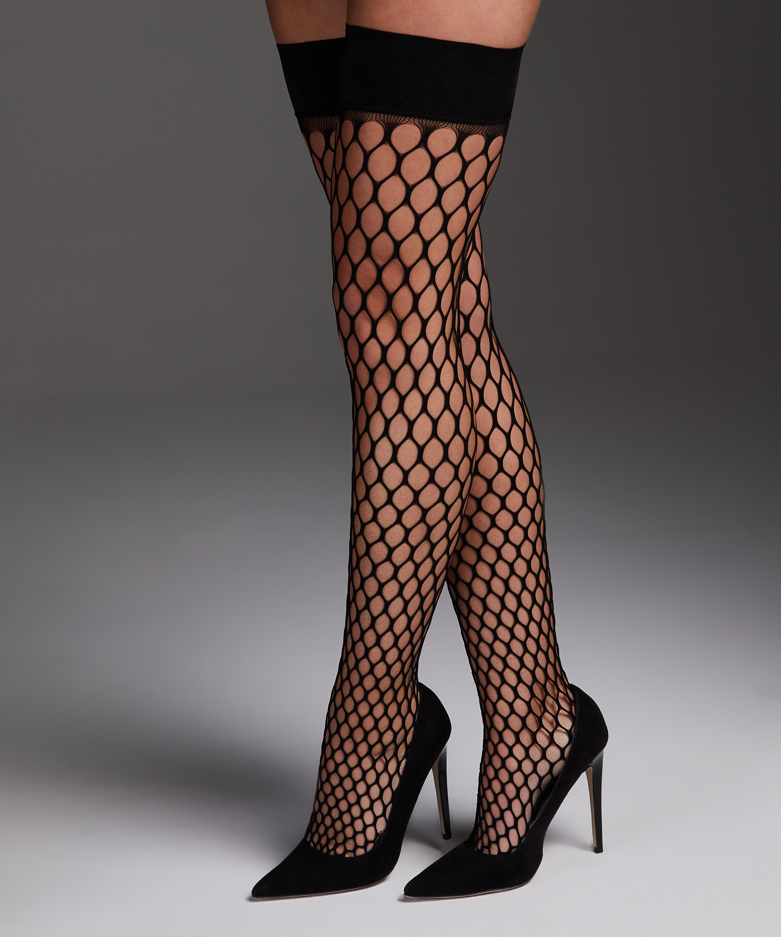 Private Stay-up Fishnet Big Sexy, Black, main