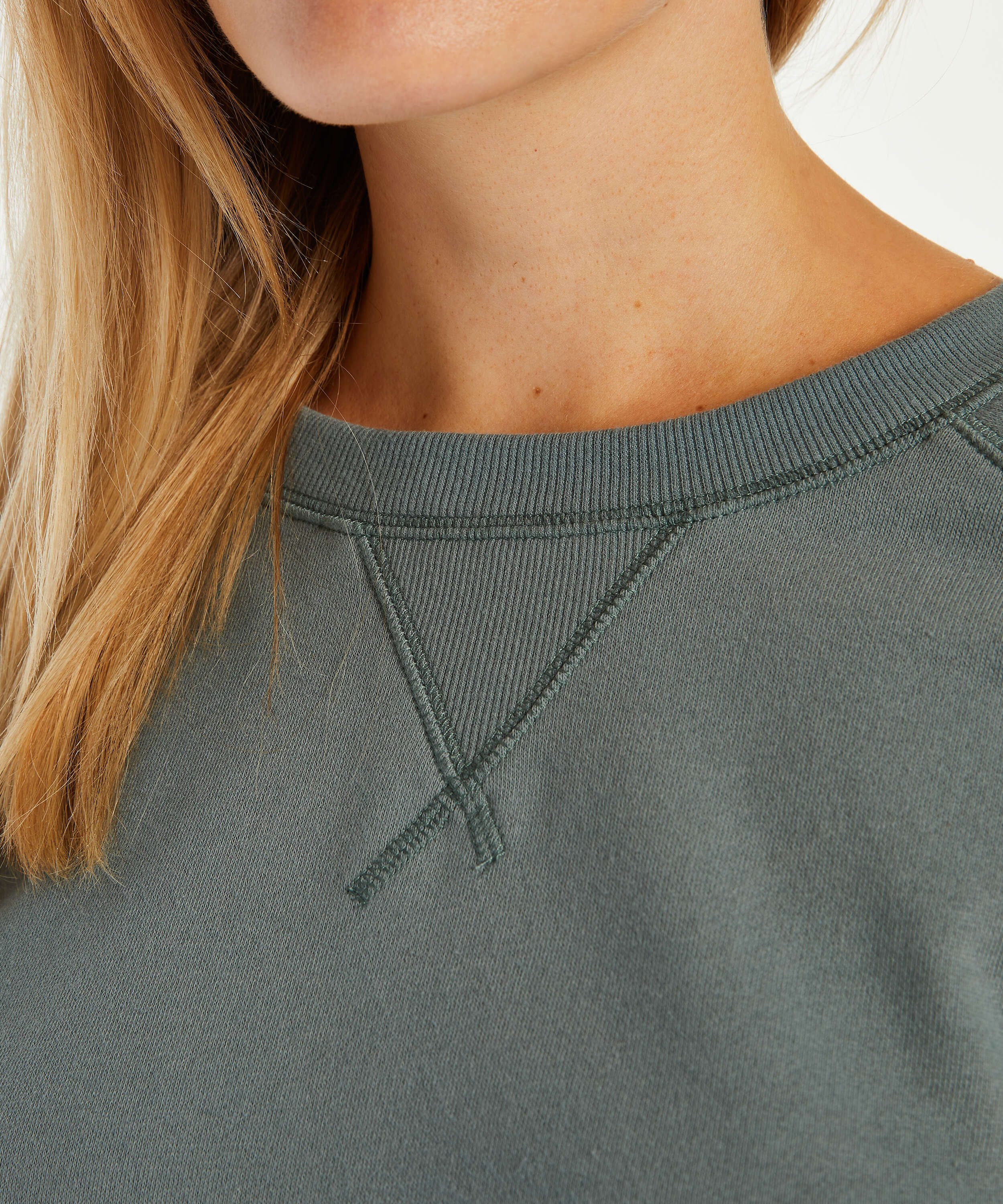 Sweat French Long-Sleeved Top, Green, main