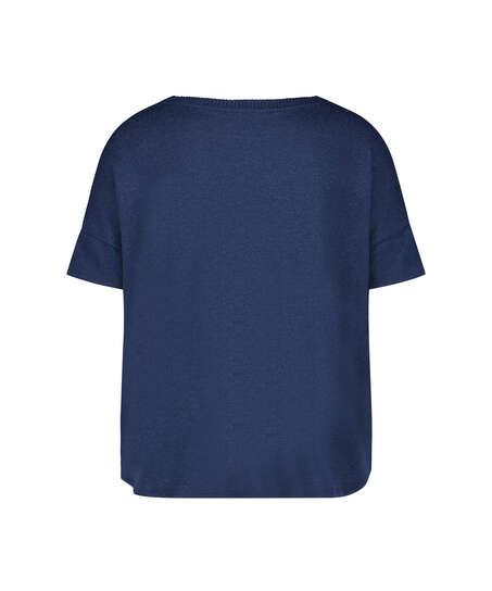 Short sleeve pyjama top in brushed jersey, Blue