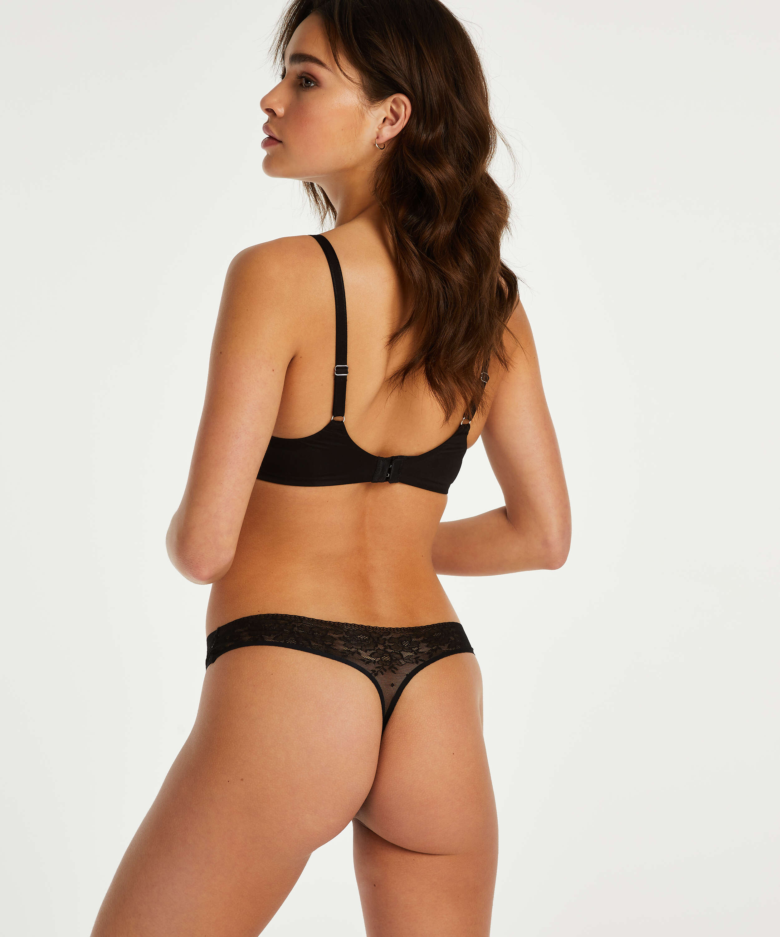 Allover Lace Invisible thong, Black, main