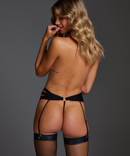 Femme High Leg Thong, Black