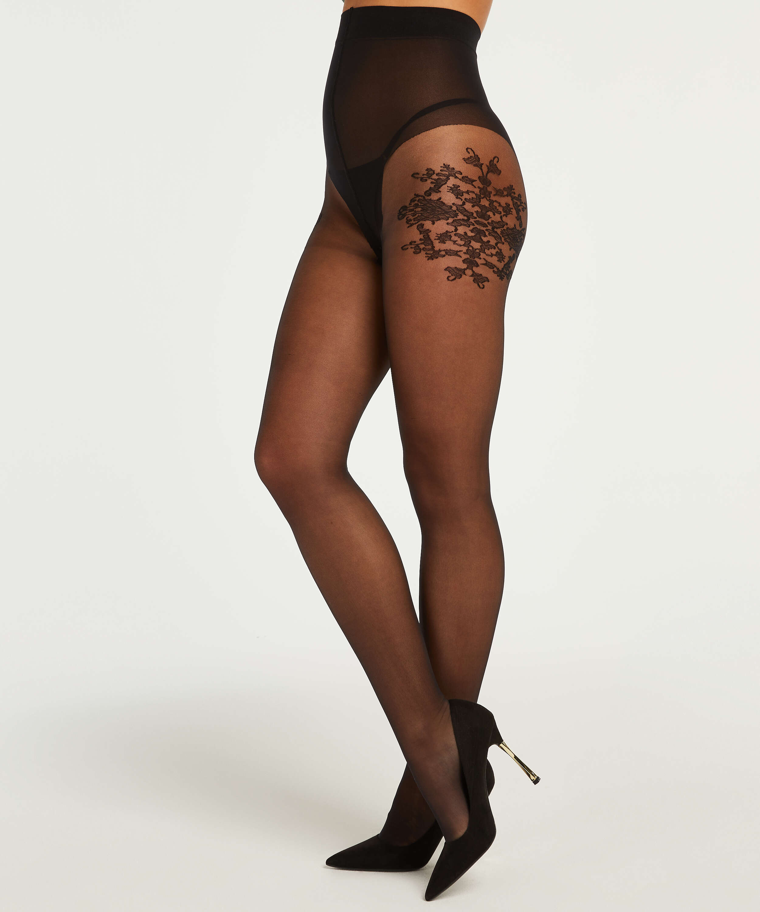 Tights 15 Denier Floral Ornament, Black, main