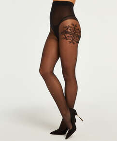 Tights 15 Denier Floral Ornament, Black