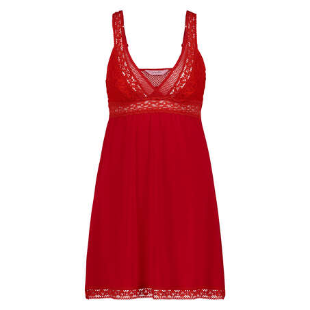Graphic Lace slipdress, Red