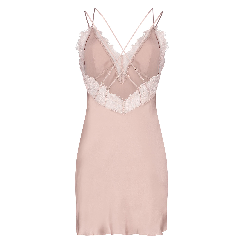 Satin Lily slip dress, Pink, main