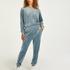 Petite Velour Jogging Pants Pin-tucked, Blue