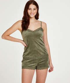 Velvet lace cami, Green