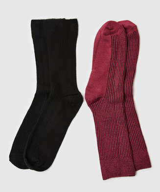 2 pairs of ribbed socks Soft Touch, Red