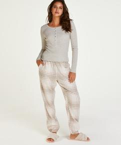 Twill Check pyjama pants, Grey