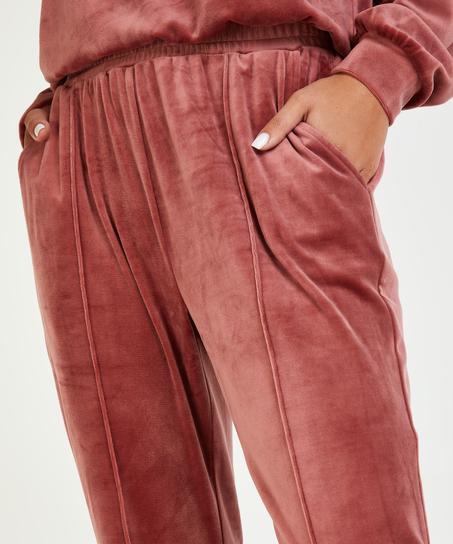 Velour Jogging Pants Pin-tucked, Pink