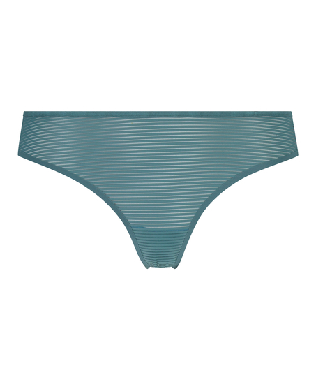 Burned Out Stripe Invisible Thong, Blue