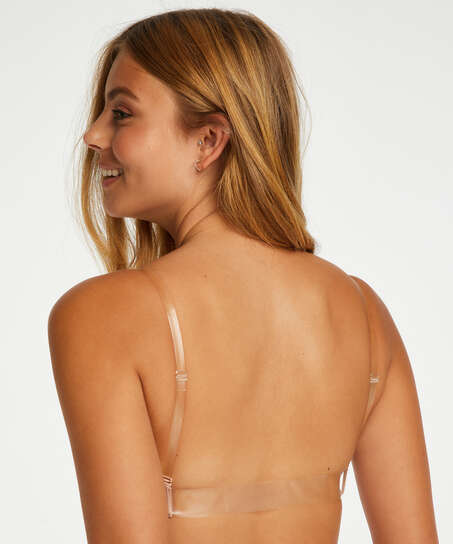 Transparent Back Padded Underwired Push-Up Bra, Beige