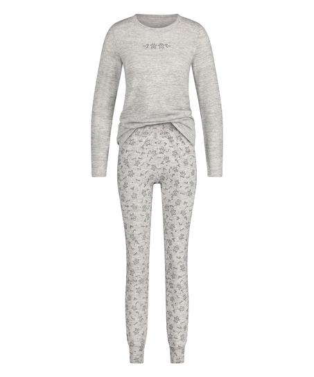 Long jersey pyjama set Gift Set, Grey