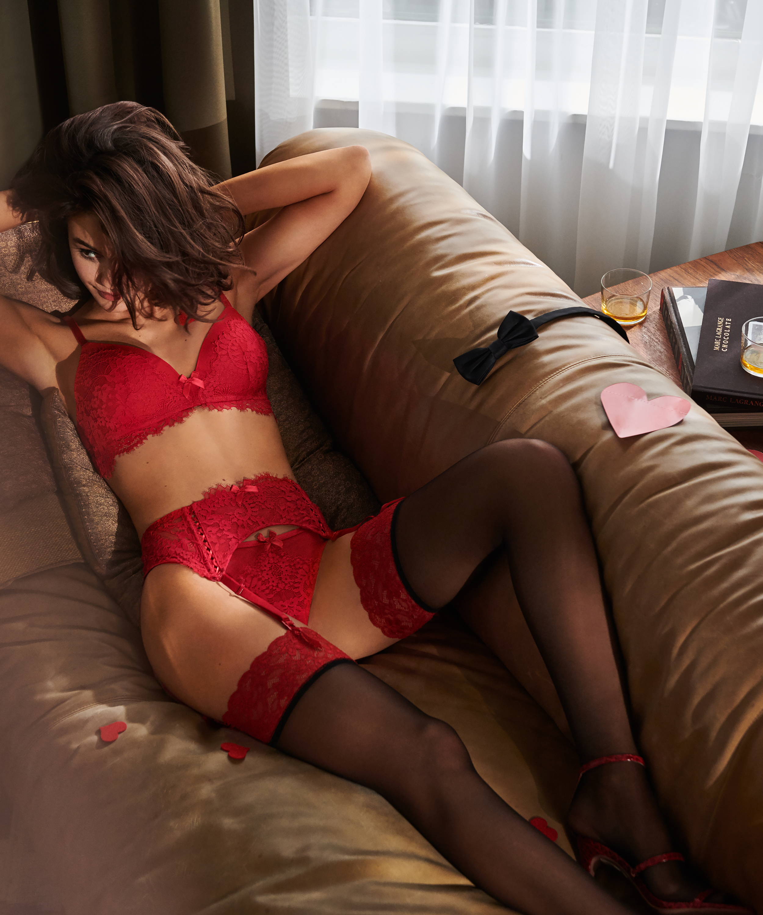 Stocking 15 Denier Fancy Lace Top, Red, main