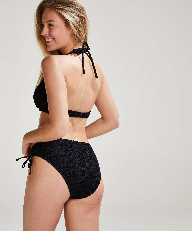 Crochet Bikini Top , Black, main