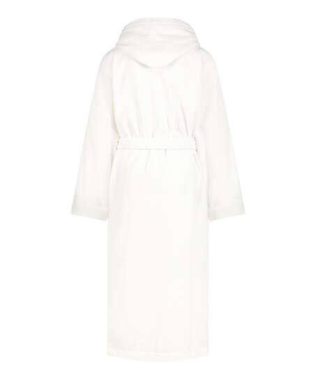 Long fleece bathrobe, White