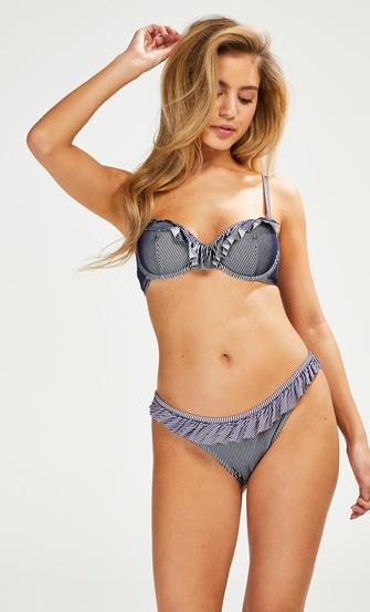 Ruffle Stripe padded underwired bikini top, Blue