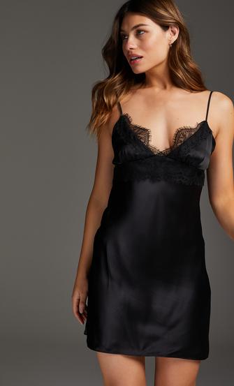 Silk Lace Slip Dress, Black