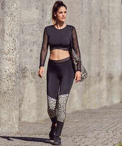 HKMX Leopard High waisted sports leggings , Grey