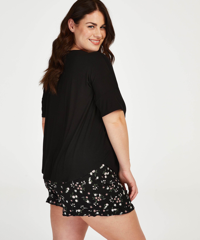 Ditzy Flower short pyjama set, Black, main