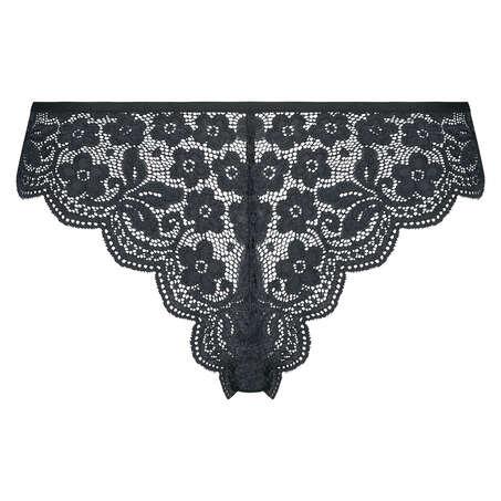 High leg lace Brazilian, Black