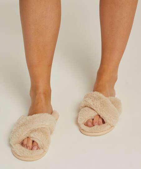 Fake Fur Slippers, Beige