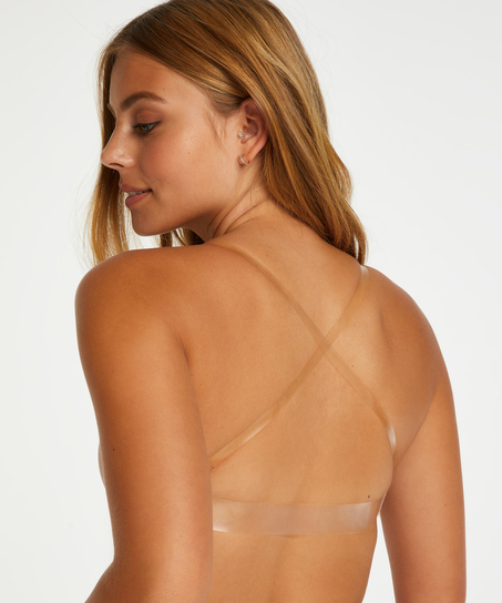 Padded Underwired Bra transparent back, Beige
