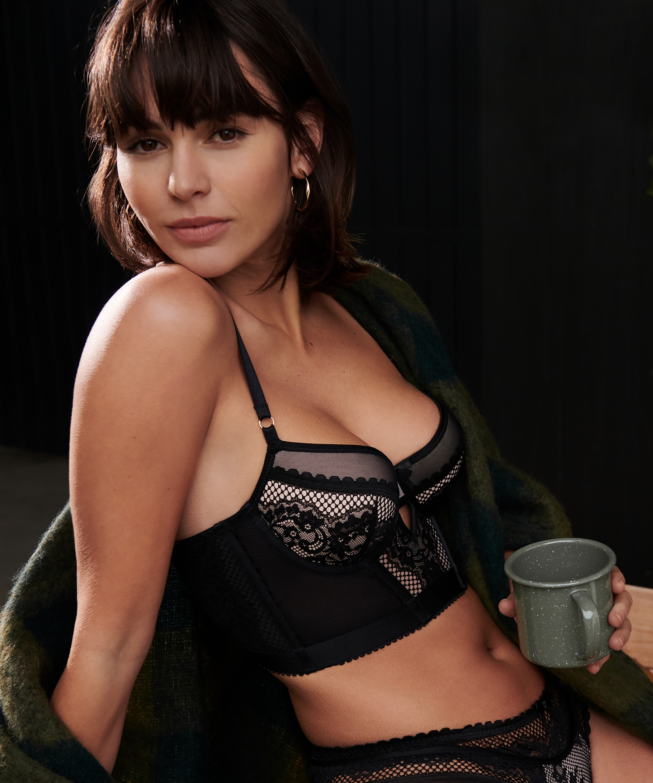 Malika padded longline underwired bra, Black, main