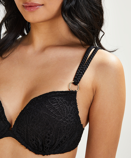 Crochet padded push-up underwired bikini top Cup A - E, Black