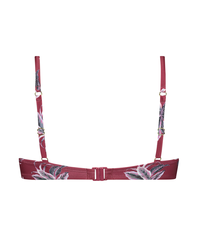 Tropic Glam padded underwired bikini top, Red, main