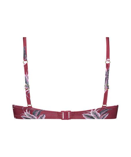 Tropic Glam padded underwired bikini top, Red