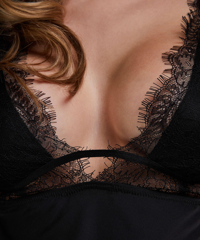 Satin Holly slip dress, Black, main