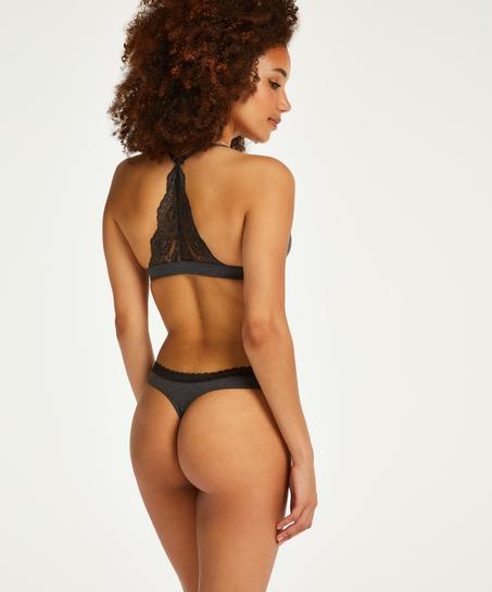 Chloe Cotton Padded Triangle Bralette, Black