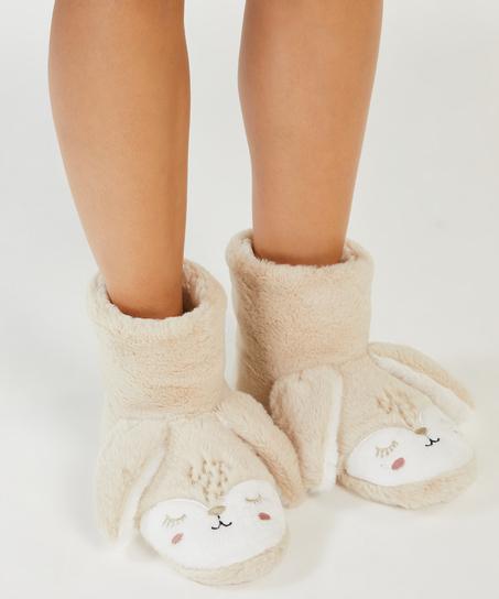 Rabbit slippers, Beige