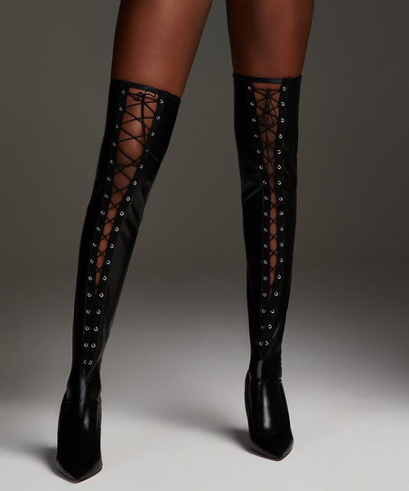 Private Lace-Up Hold-Ups, Black