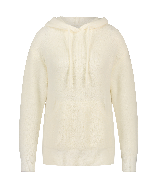 Premium Fluffy Long-Sleeved Hoodie, White, main