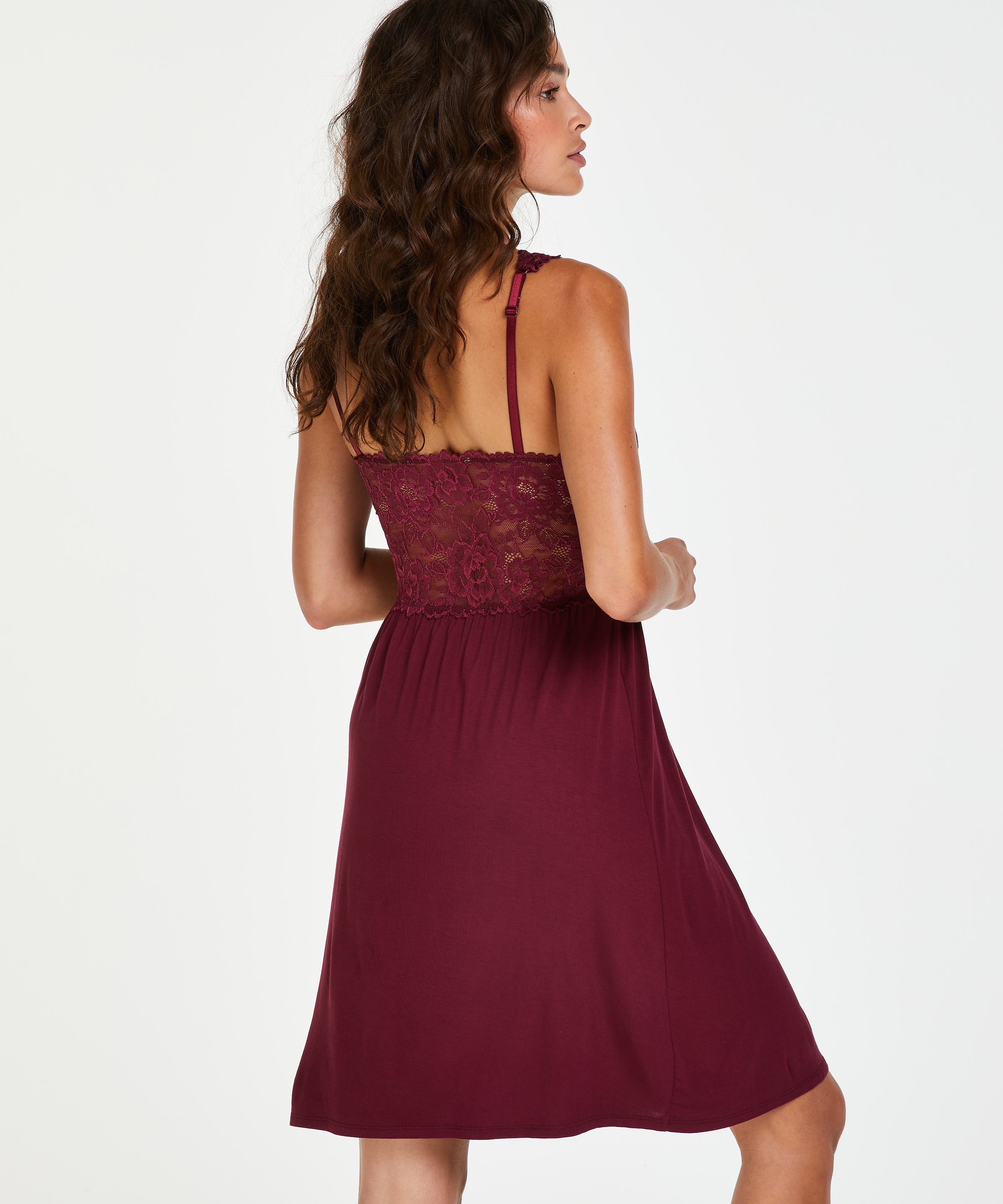 Nora Lace Slip Dress, Red, main