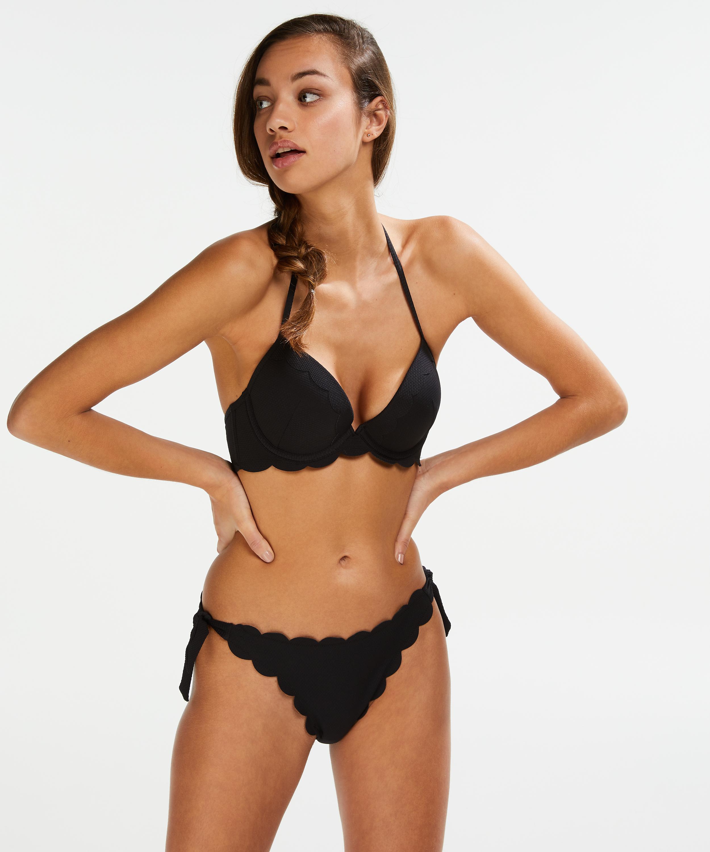 Scallop push-up underwired bikini top Cup A - E, Black, main