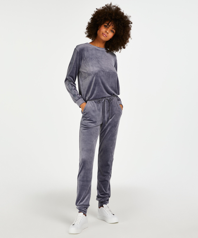 Velvet Lurex jogging bottoms, Grey, main