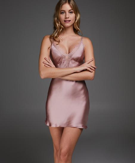 Satin Lily slip dress, Pink