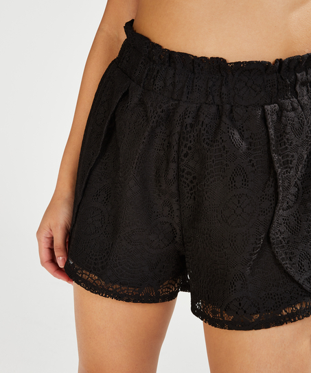 Lace shorts, Black